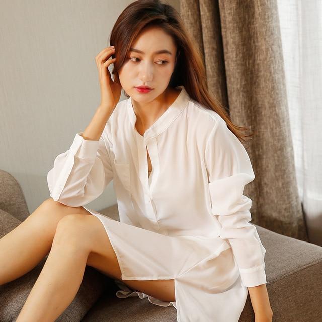Pullover Button Top Chiffon Nightgown Sleepwear Long Sleeve Night Shirt  Dress Sexy Shirt Women Chiffon Sleepshirts a190a9292