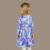 2016 Nueva Llegada de La Muchacha del Otoño Invierno de Color Rosa Y Azul Impresión de la flor Vestidos de Fiesta de Cumpleaños para Niños de Manga Larga Ropa de La Boda