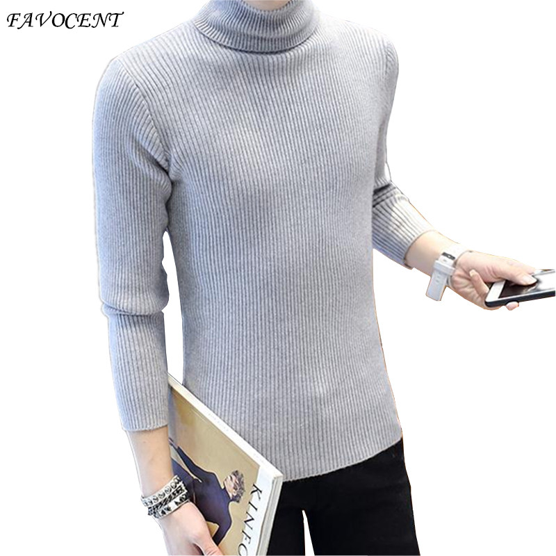 Sweater Men Knitwear Slim-Fit Warm Thick White Solid Gray Brand Turtleneck