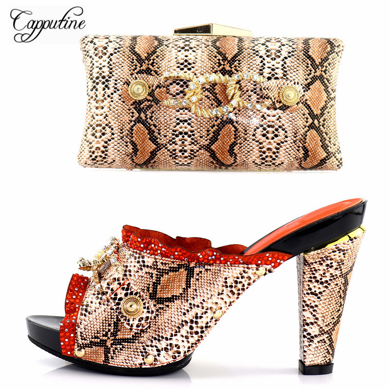 Capputine Summer Style Italian Woman Orange Shoes And Bag Set African High Heels 11.5CM Wedding Shoes And Bag Set Free Shipping