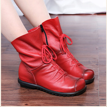 Plus Size 35-42 High Quality Women Boot Genuine Leather Women Shoes Casual Martin Boots Winter Flat Mujer Chaussure Plush Boots