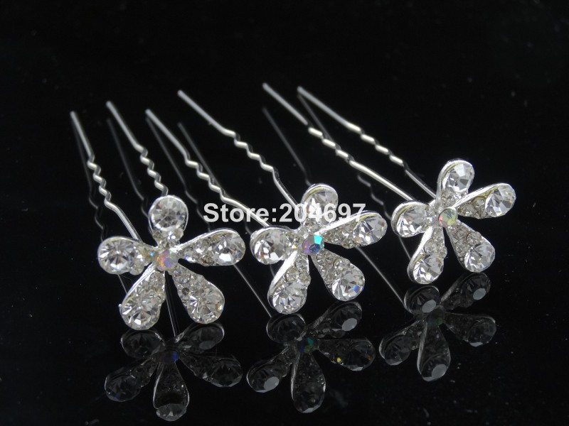 Feelgood 200pcs lot White Crystal Flower Hairpins Elegant Wedding Bridal  Hair Jewelry Accessories Wholesale-in Hair Jewelry from Jewelry    Accessories on ... b9dd51e846e3