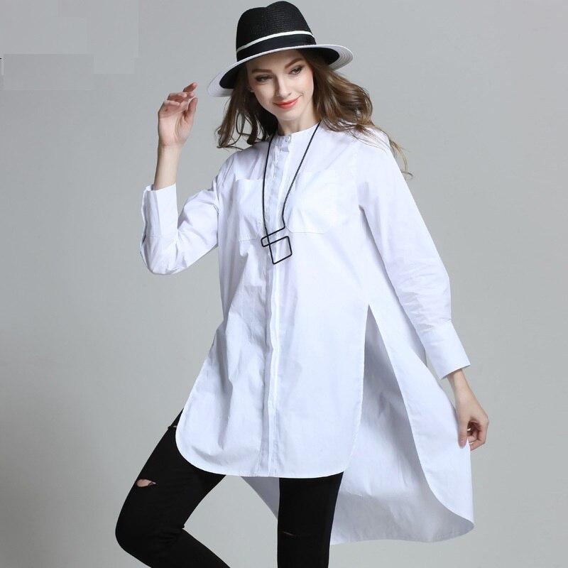 4XLwomen's été blouses chemises de grande taille 2017 nouvelle européenne femme blanc noir pleine manches décontracté mode blanc t-shirts