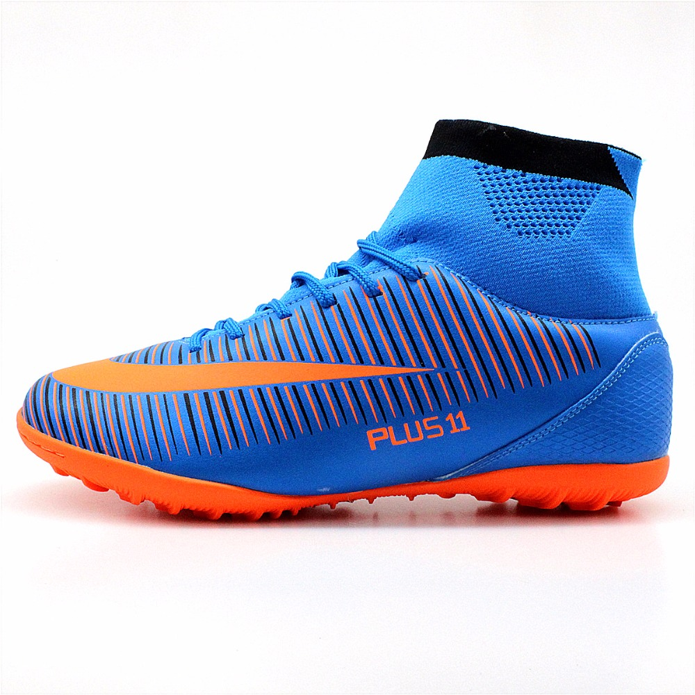 MAULTBY Men's Blue Orange High Ankle Turf Sole Indoor Cleats Football Boots Shoes Soccer Cleats #TF31630N health top soccer shoes kids football boots cleats futsal shoes adult child crushed breathable sport football shoes plus 36 45