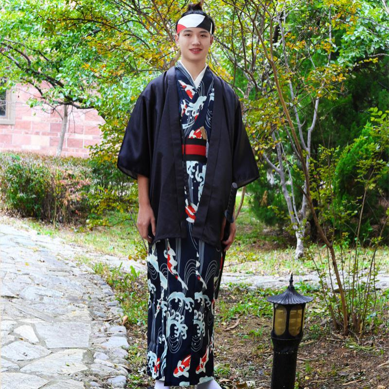 Autumn Winter New Men Kimono Japanese Style Kimono Traditional Cosplay Squid Wave Samurai Costumes 8PCS Stage Show Clothing Suit