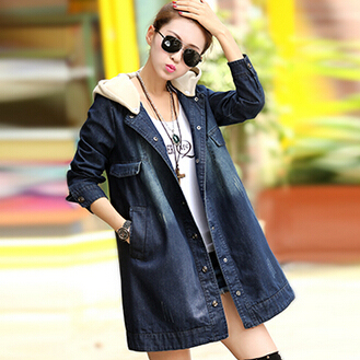 Otoño 2016 moda mujeres chaqueta larga chaqueta de mezclilla con sombreros chaqueta camisa Cozy mujeres abrigo