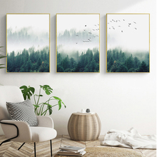 SURE LIFE 3pcs/lot Nordic Fog Forest Birds Landscape Canvas Painting Poster Print Wall Art Picture Living Room Home Office Decor