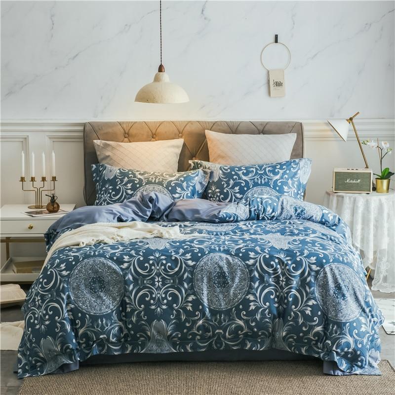2018 Blue plaid Bedding Set king queen size Linens Duvet Covers Pillowcases egyptian cotton Bed Covers2018 Blue plaid Bedding Set king queen size Linens Duvet Covers Pillowcases egyptian cotton Bed Covers