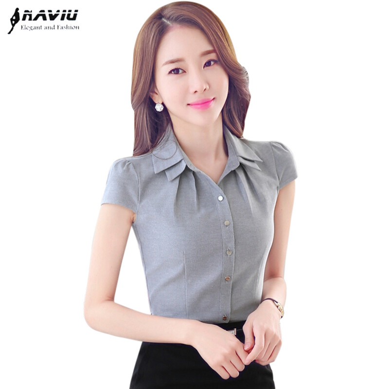 High quality women office shirt OL Summer all match slim ...