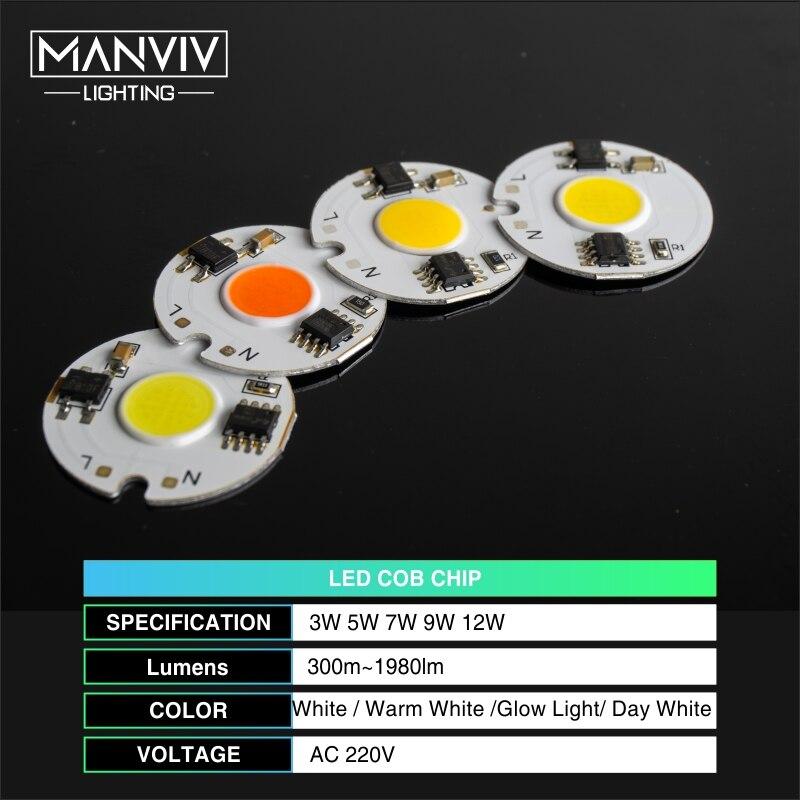 Image 2 - LED COB Chip Lamp 12W 9W 7W 5W 3W 220V Smart IC High Brightness Driver Fit DIY For Spotlight Floodlight Cold White Warm White-in Light Beads from Lights & Lighting