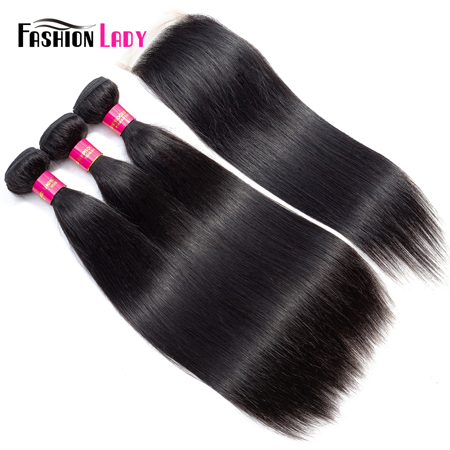 Fashion Lady Pre-Colored Brazilian Human Hair Weave With Closure Natural Color 3Pcs Straight Bundles With Closure Non-Remy