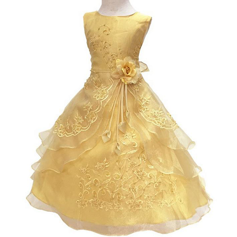 2016 Kids Wedding Dresses For Girls Sleeveless Birthday Party Princess Dress 3-7Y Children Bridesmaid Toddler Elegant Pageant  2016 fashion kids wedding dresses for girls birthday party princess dress 2 7t children bridesmaid toddler elegant pageanttq8054