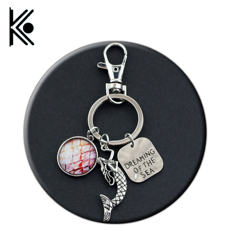 free shipping Caribbean jewelry The little mermaid keychain Ocean Keychain Charm Letter Dreaming of the Sea Key Chains Keyring