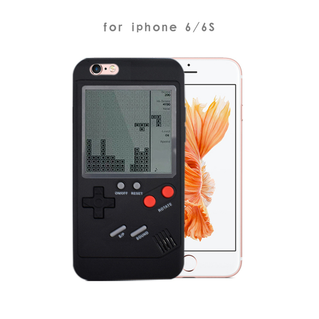 Data Frog Built-in 8 Classic Tetris Games Machine Case for Iphone6/7/8/X Plus Protect Shell Nostalgic Game Console For Iphone 7