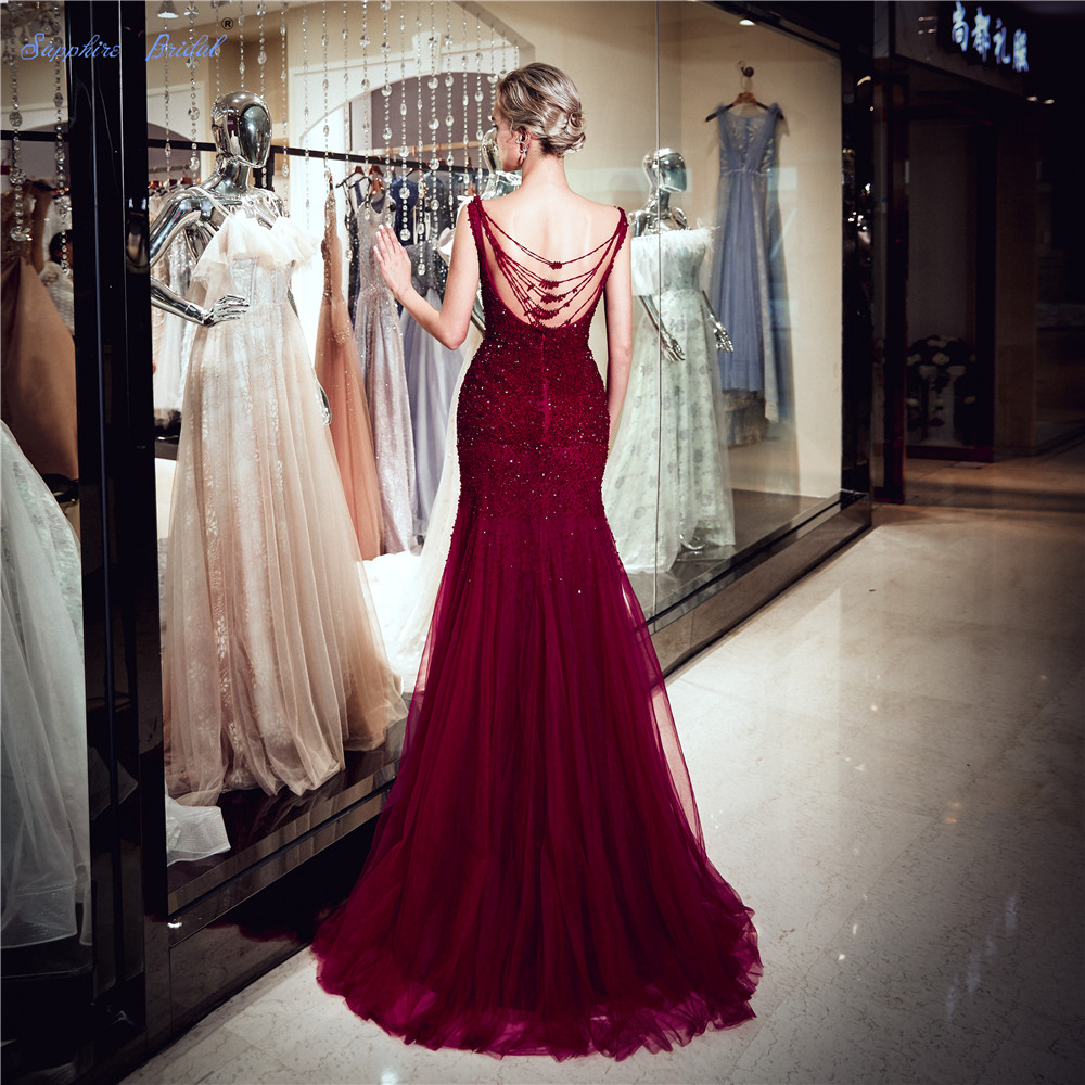 Sapphire Bridal Vestido De Festa 2019 New Burgundy Luxury Long Formal Gowns Abito Da Sera Beaded Sexy Cap Sleeve   Evening     Dress