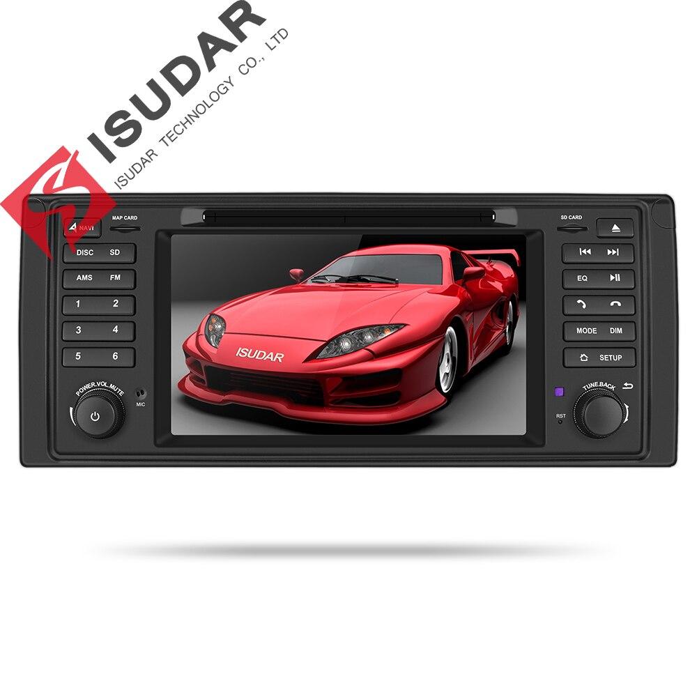 Sistema Multimídia Carro Android 9 Isudar Um Din DVD Automotivo Para BMW Série 5/X5 E53 GPS Rádio FM quad Core 16 GB USB DVR OBD2