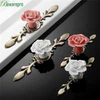 bowarepro Rose Ceramic Alloy Base Door Handles Kitchen Cupboard Closet Drawer Cabinet Knobs Ceramic Knob Furniture Accessories 1