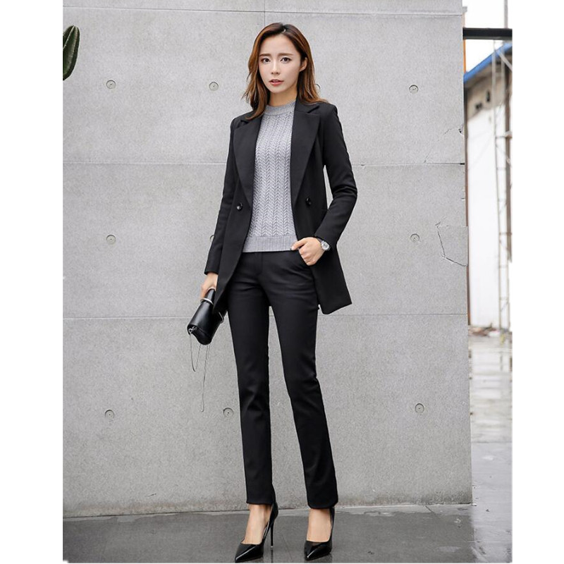 13.1 Autumn and winter woman dress suit jackets+pants female cultivate one\'s morality show thin long sleeve formal suit