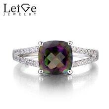 Leige Jewelry Mystic Topaz Promise Rings Solid 925 Silver Cushion Cut Rainbow Fine Gemstone November Birthstone Ring Gifts