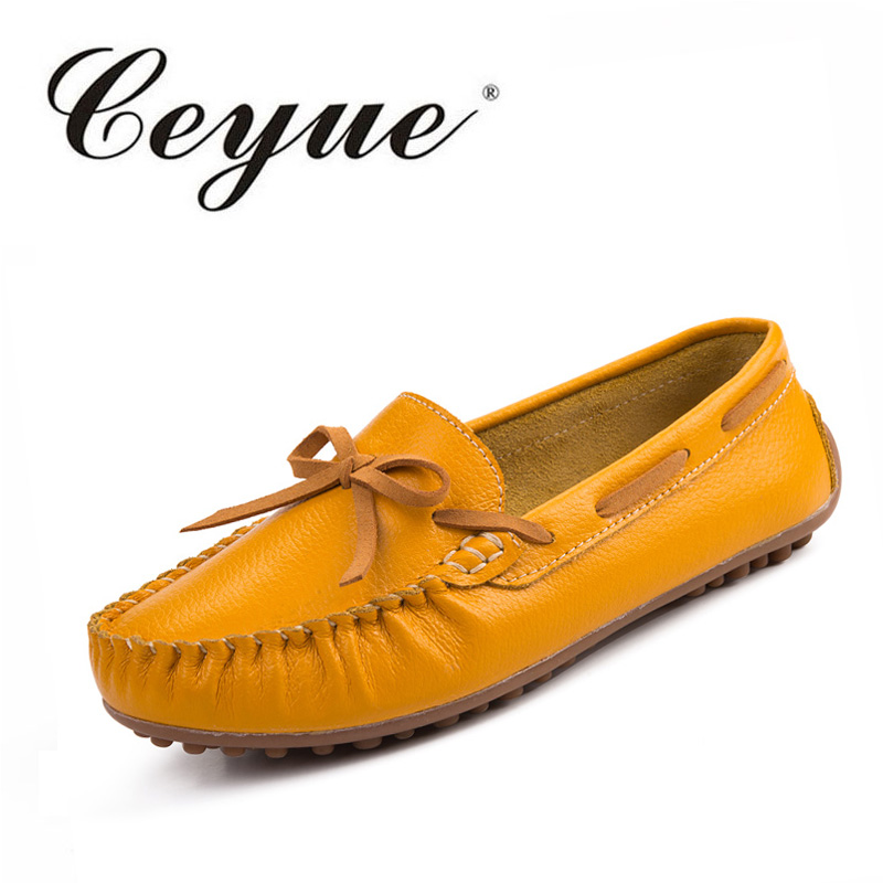 Ceyue Womens Flat Shoes 2017 Summer Slip-on Soft Leather Loafers Casual Bow Tie Female Footwear Women Comfortable Walking Shoes women summer casual tassels slip on chic flat loafers soft sole driving shoes