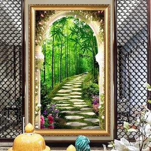 Image 5 - QIANZEHUI,Diamond Embroidery,Round Diamond Deep in the bamboo forest Full rhinestone 5D Diamond painting cross stitch,needlework
