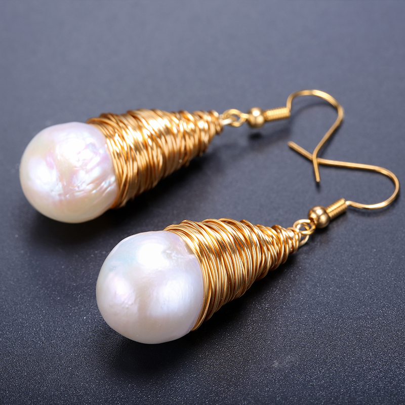 DAIMI Charm Heavy Handmade Earrings Fashion Trendy Jewelry About 14mm Baroque Pearl Earrings Wedding Jewelry