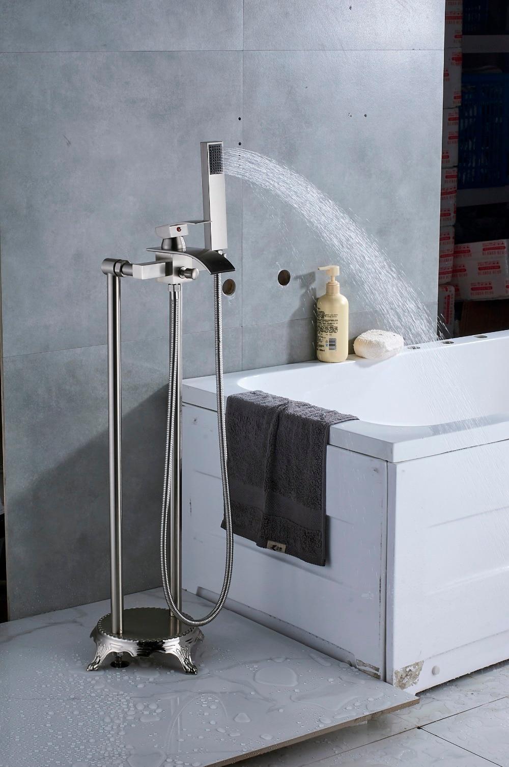 Quyanre Black Nickel Bathroom Floor Standing Faucet Waterfall Spout ...