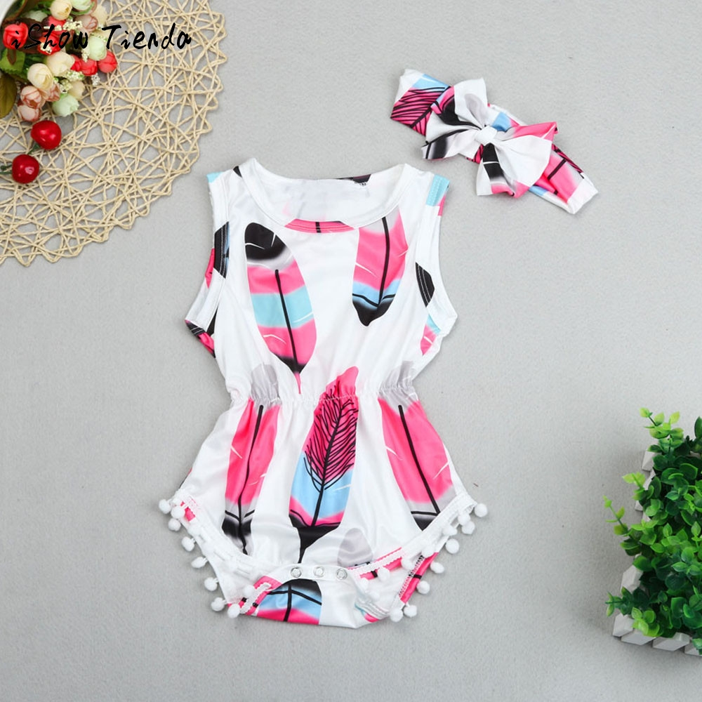 ISHOWTIENDA newborn Baby girls clothes print newborn Romper baby girl jumpsuit+baby headband 2PCS Tassel baby overalls for kids baby pink v neck tassel detailed jumpsuit
