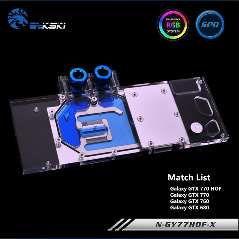 Bykski Full Coverage GPU Water Block For Galaxy GTX760 770 680 HOF Graphics Card N-GY77HOF-X computador cooling fan replacement for msi twin frozr ii r7770 hd 7770 n460 n560 gtx graphics video card fans pld08010s12hh
