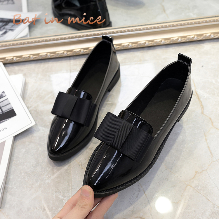 2018 Classic Brand Shoes Women Casual Pointed Toe Black Oxford Shoes spring for Women Flats Comfortable Slip on Women Shoes S058 odetina 2017 new women pointed metal toe loafers women ballerina flats black ladies slip on flats plus size spring casual shoes