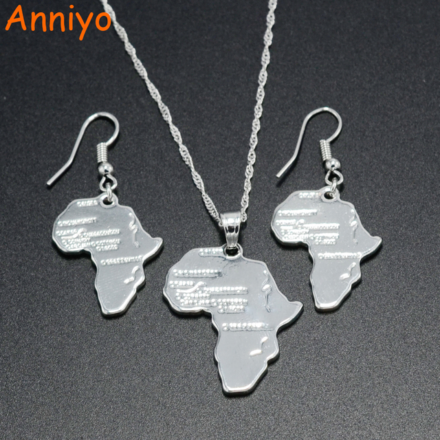 Anniyo africa map pendant necklaces earrings silver color ethiopia anniyo africa map pendant necklaces earrings silver color ethiopia jewelry womenafrican maps set aloadofball Image collections