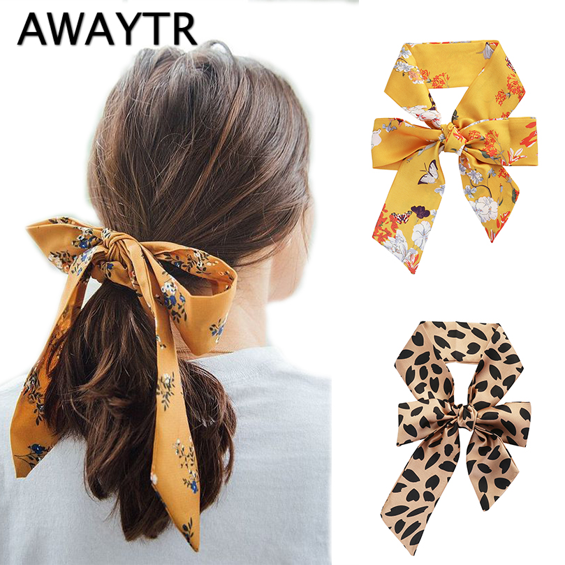 Popular Brand Awaytr Spring Fashion Hair Scarf For Women Headband Ponytail Holder Hair Tie Ribbons Hairband For Girls Hair Accessories Apparel Accessories