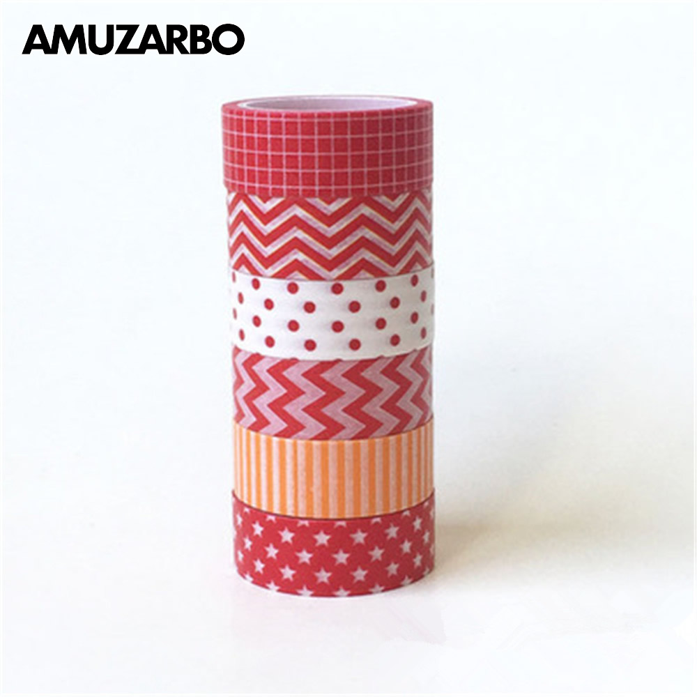 1pcs 15mm*5m Washi Tape Decorative Adhesive Tapes Red And White Wave-point Ripple Lattice Masking Paper Tape Diary Sticker Gift