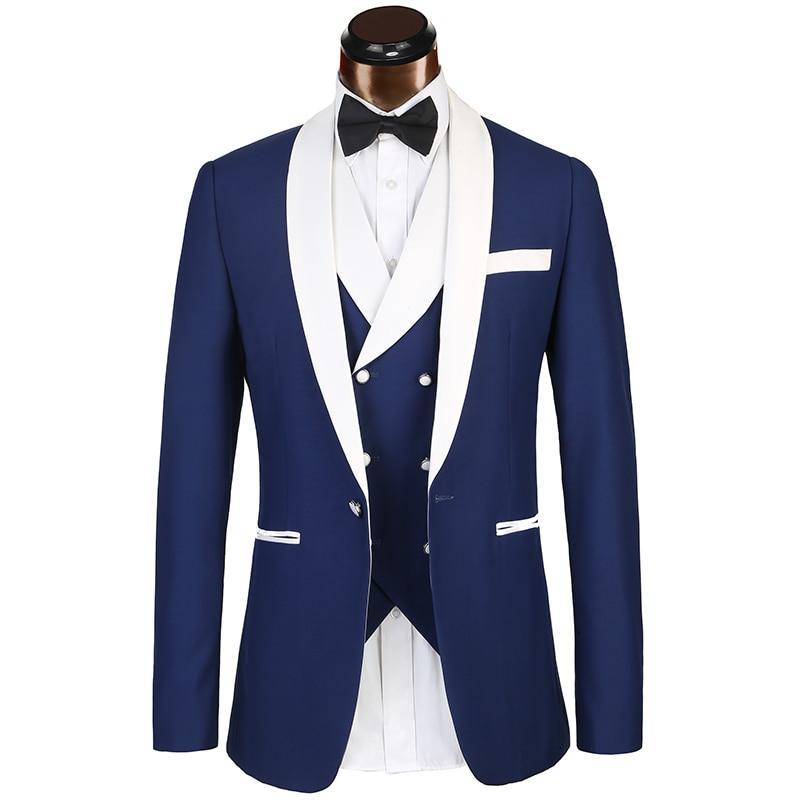 Marca de lujo Trajes mens 3 unidades novio Esmoquin nvay azul boda prom  calidad traje de hombre Pantalones Sets euro gran tamaño Trajes hombres en  Trajes de ... fb73cef35e3