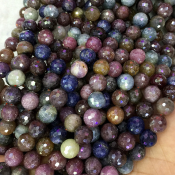 "Natural Genuine Multi-Color Red Purple Blue Ruby Sapphire Round Loose Beads 4-18mm DIY Jewelry Necklaces or Bracelets 15"" 04073"
