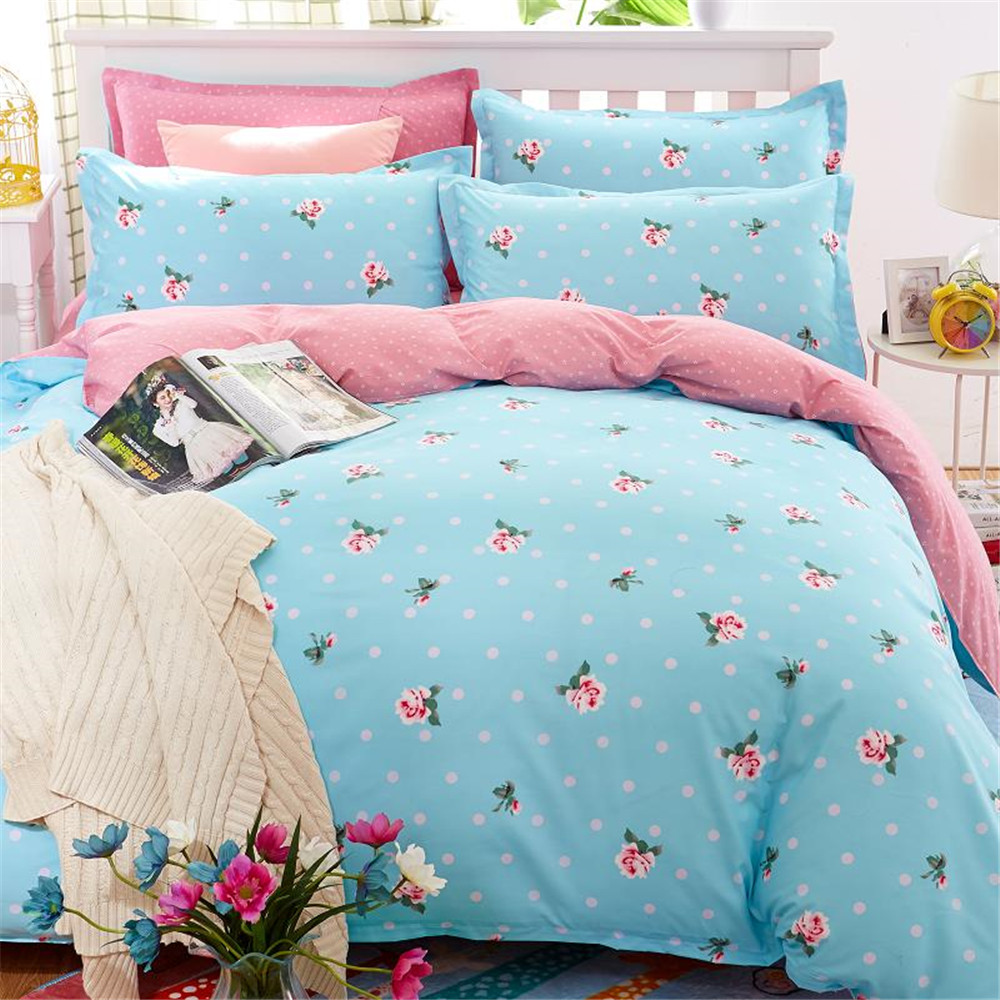 Blue bedding for teenage girls - Blue Pink Color Printed Floral Bedding Sets 4pcs Teen Girls Bedroom Home Textiles Decoration Quilt Cover Pillowcase