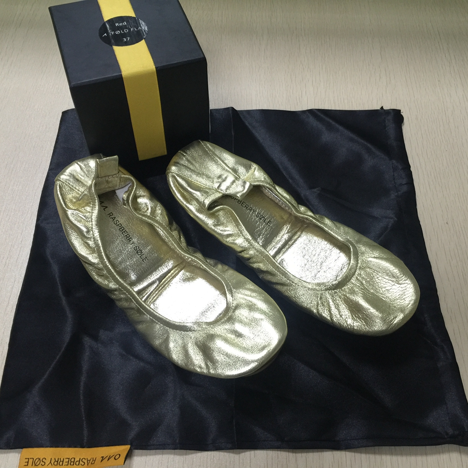 Gold Fashion Brand Ballerina Shoe Women Leather Ballet Flat Foldable and Portable Travel Flat Pregnant Shoe for Bridal Wedding aohaolee 5 pairs lot women shoes ballet flats portable fold up shoe ballerina flat shoe roll up prom bridal wedding party shoes