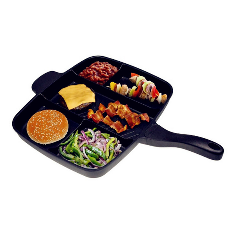 2017 Wholesale Magic Fryer Pan Non-Stick 5 in 1 Fry Pan Divided Grill Fry Oven Meal Skillet 15 Black Squre Shape