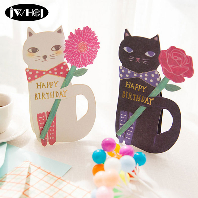 1pcs Cute Cat Flowers Happy Birthday Card With Envelope Cartoon Animal Christmas Greeting Thanks