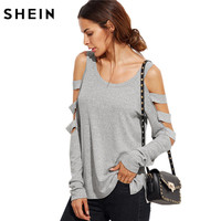 SheIn Grey T Shirt Women Long Sleeve Cold Shoulder Tops 2016 Autumn Loose Tees Sexy Ladies
