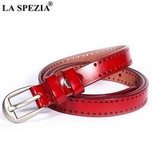 LA SPEZIA Women's Thin Belt Red Pin Buckle Leather Belts Female Fashion Brand Genuine Leather Cowhide Ladies Narrow Belt Jeans цена и фото