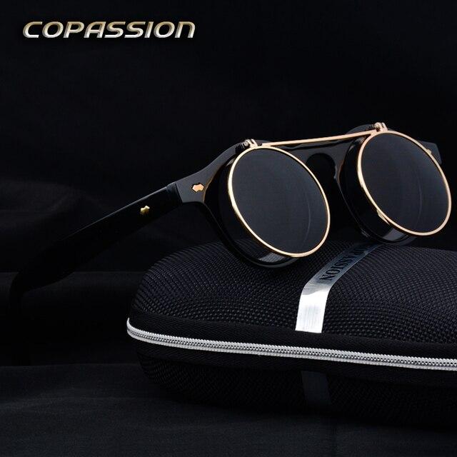 Marque conception Steampunk lunettes de soleil Rondes Rétro lunettes de  Soleil monture d or pour e1711b14c4a0