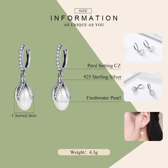WOSTU Authentic 925 Sterling Silver Blooming Flower Petal Freshwater Pearl Drop Earrings for Women Luxury Silver Jewelry CQE259