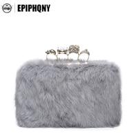 Epiphqny Marca Mujeres Bolsos de Dedo Animal Del Conejo de Piel de Lujo Embragues Bolsos de Noche Bolsa de Mensajero de La Manera