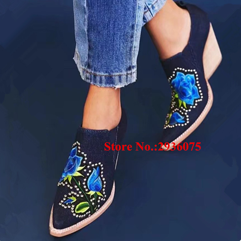 где купить Fashion New Booties Denim Canvas Ankle Boots Wedges Blue Embroidery Floral Studded Women Boots Stacked Heels Slip-On Botas Mujer по лучшей цене