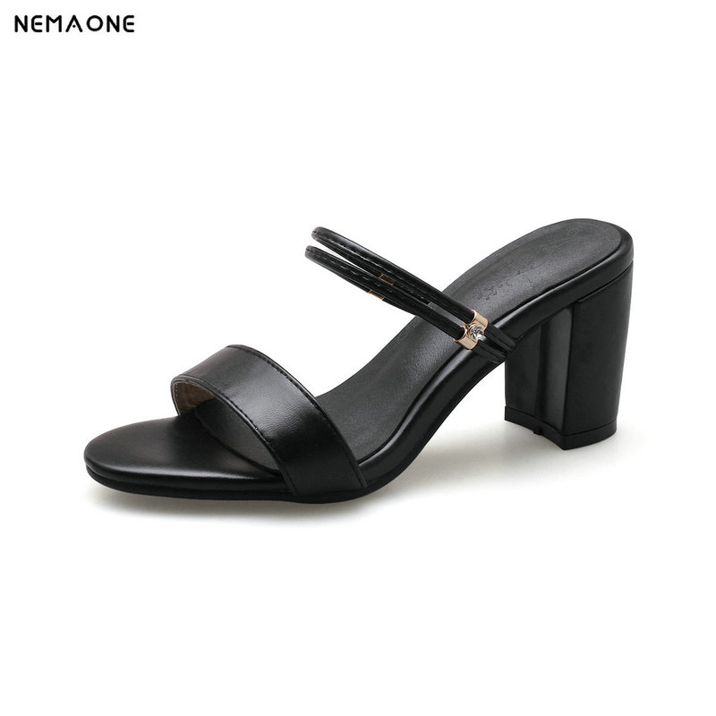 NEMAONE New women slipper thick high heels women sandals summer ladies dress shoes black white apricot large size 9 10 11 12 msk women s beaded shoulders cowl faux wrap jersey dress 12 black white page 9