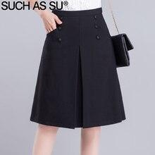 Brand New Knit Skirt Women Slim Black Button Pocket A-Line Skirt S-3XL Plus Size 2017 Occupation Ladies Skirt