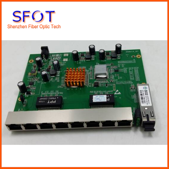 PCB board PD with 8 ethernet ports reverse POE optical network EPON ONU 8 ports PCB