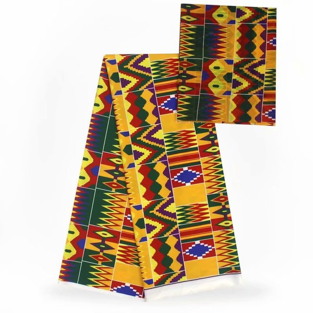 Digital Printed Silk Fabric/Nigerian Ankara Wax Pattern 4 Yards Audel Fabric +2 Yards Chiffon For Dress