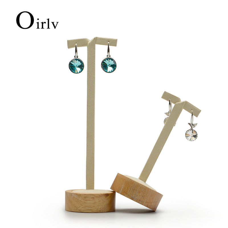 Oirlv 2pcs Solid Wood T Bar Earrings Ear Stud Jewelry Display Show Counter Showcase
